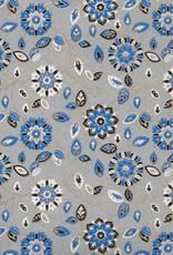 "India Garden Flowers with Mandalas, Blue, White, Black on Grey, 22"" x 30"""