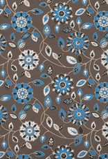 "India Garden Flowers with Mandalas, Blue, White, Black on Brown, 22"" x 30"""