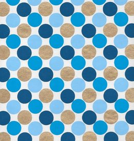 "India Dots, Blue Triad, with Gold on White, 22"" x 30"" Limited Quantities"