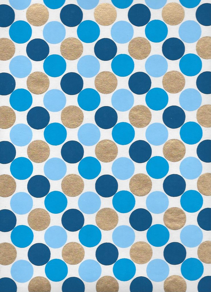 """India Dots, Blue Triad, with Gold on White, 22"""" x 30"""" Limited Quantities"""