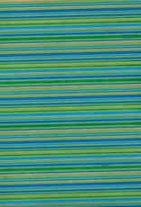 "India Indian Stripes, Blue, Green, Gold on Green, 22"" x 30"" Limited Quantities"