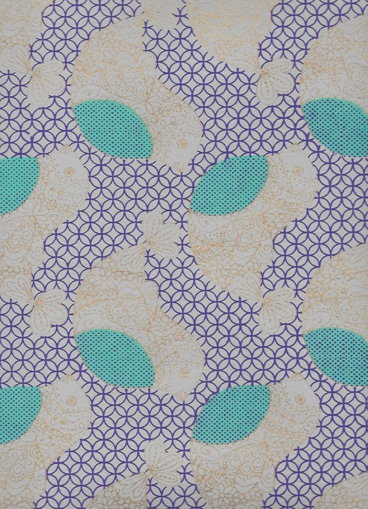 "India Flower Chicks Moroccan Background, Blue, Purple, Cream, Gold Lines on Natural,  22"" x 30"""