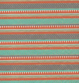 "India Egyptian Rug, Orange, Light Blue, Gold on White, 22"" x 30"" Limited Quantities"