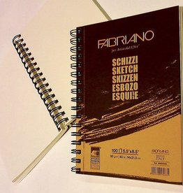 "Schizzi Sketch Pad, 5.83""x 8.25"", 60 Sheets, 90gm Fabriano Paper, Spiral Bound-Micro Perforated"