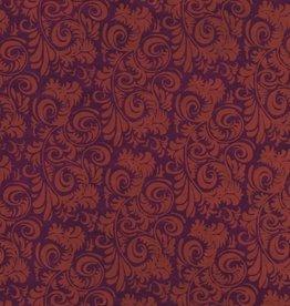"Lokta Peacock Feather, Orange on Burgundy, 20"" x 30"""