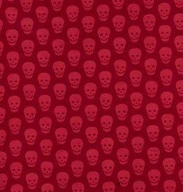 "Nepal Lokta Skulls, Red on Red, 20"" x 30"""