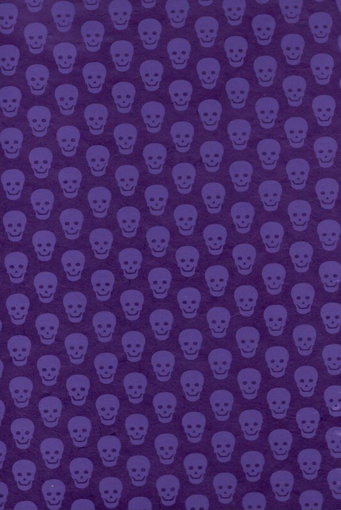 """Nepal Lokta Skulls, Purple on Purple, 20"""" x 30"""""""