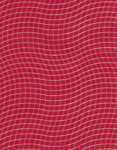 """India Wavy Grid, Red, Gold on Red, 22"""" x 30"""""""