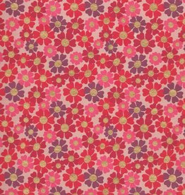 "India Daisies with Gold Dots, Red, Pink, Purple on Pink Paper, 22"" x 30"""