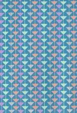 "India Triange Mobile, Orange, Seafoam, Silver, Blue, Purple on Blue, 22"" x 30"""