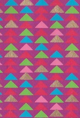 """India Triangle Stacks, Red, Pink, Green, Blue, Gold on Magenta, 22"""" x 30"""""""