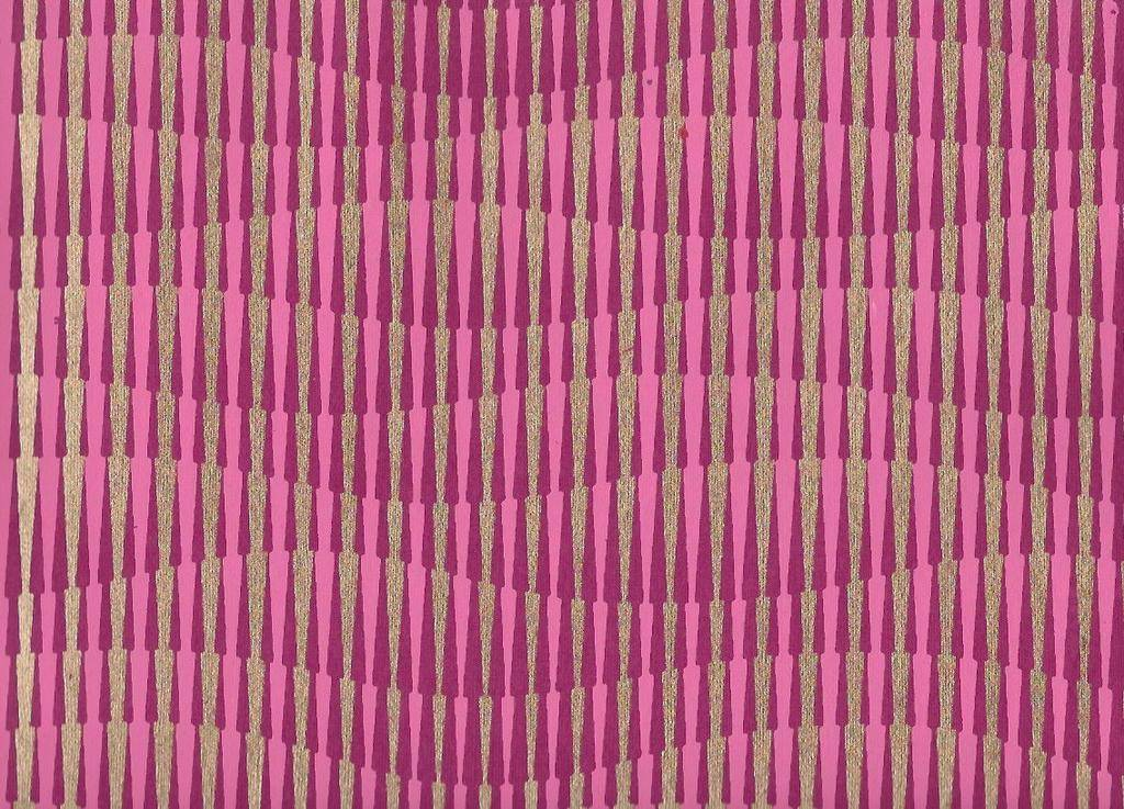 """India Optical Illusion, Hillside, Magenta, Pink with Gold on Purple, 22"""" x 30"""""""