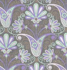 """India Peacock Flowers, Seagreen, Light Purple, Lavender, Gold Lines on Grey, 22"""" x 30"""""""