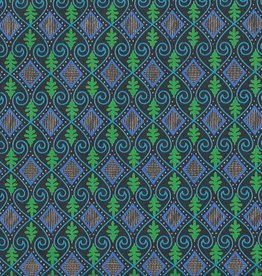 """India Evergreen Ocean Diamond, Green, Blue, with Gold on Black, 22"""" x 30"""""""
