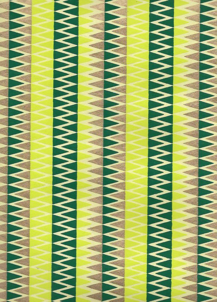 """India Zig Zag with Stripes, Evergreen, Gold on Lime Green, 22"""" x 30"""""""