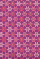 """India Indian Mosaic Daisy Pattern, Pink, Magenta with Gold Lines on Purple, 22"""" x 30"""""""