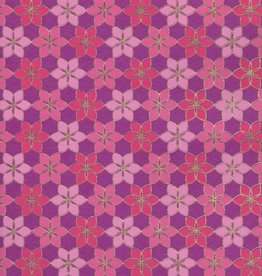 "India Indian Mosaic Daisy Pattern, Pink, Magenta with Gold Lines on Purple, 22"" x 30"""