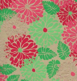 """India Large Flowers, Indian Botanical, Red, Green, Gold on Tan, 22"""" x 30"""""""