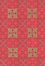 "India Square Quilt, Indian Design, Red, Pink, Gold on Red, 22"" x 30"""