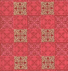 """India Square Quilt, Indian Design, Red, Pink, Gold on Red, 22"""" x 30"""""""