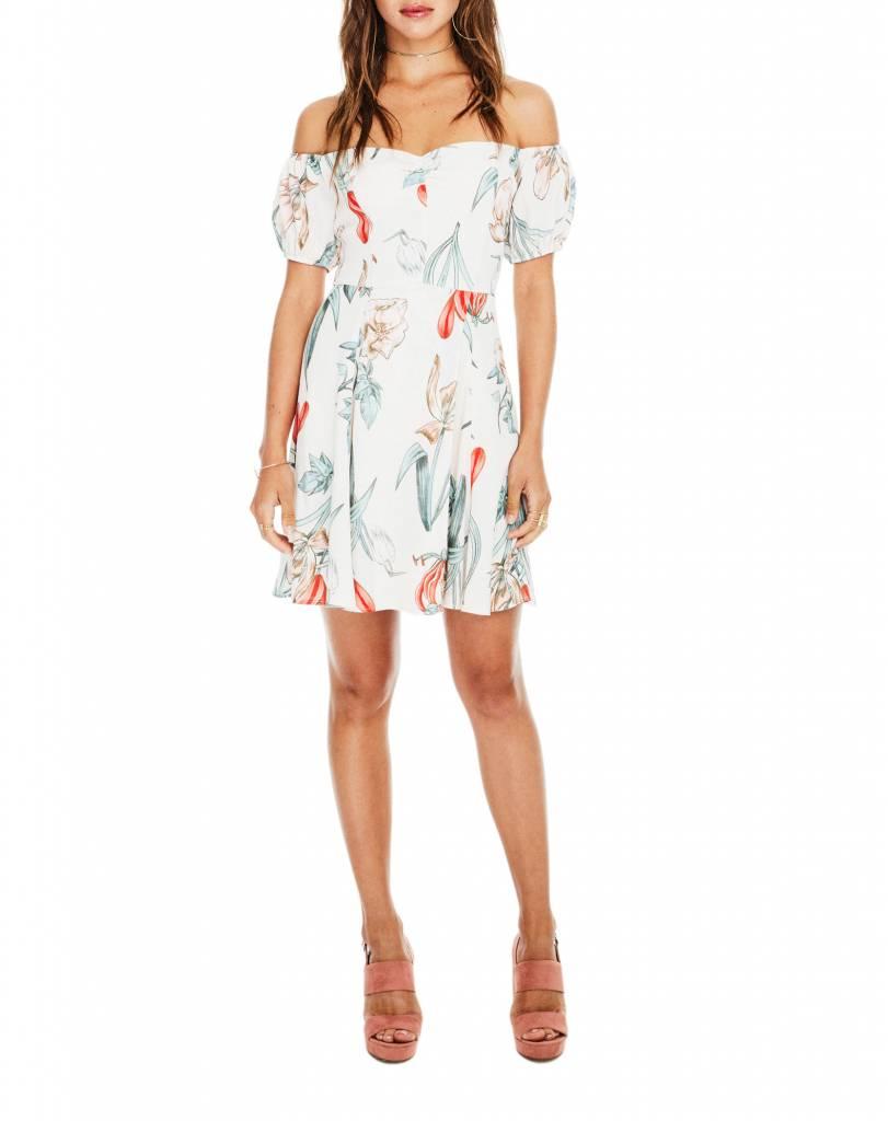 Printed Floral Off Shoulder Dress