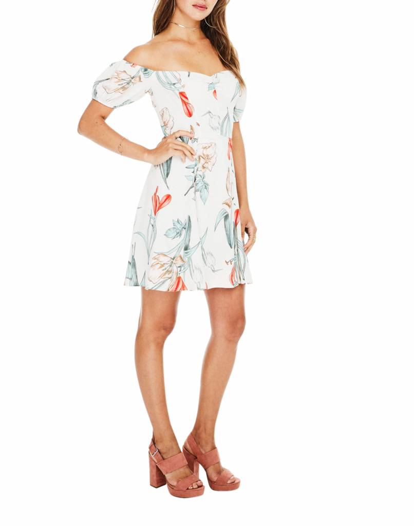 Printed Floral Off Shoulder Dress