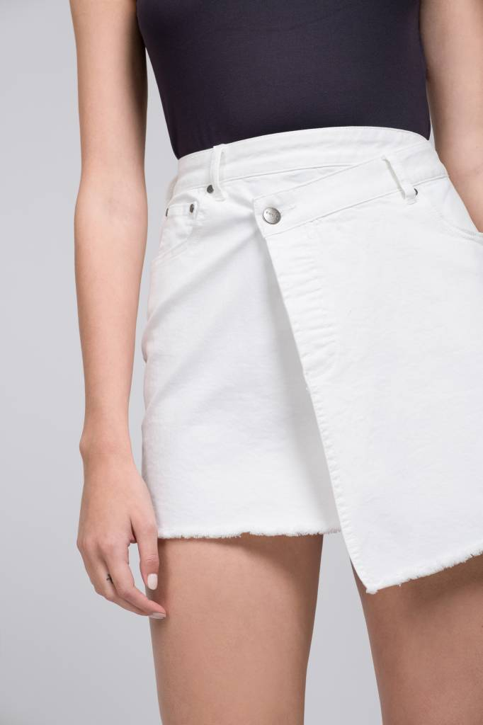 Raw Hem Assym. Mini Skirt