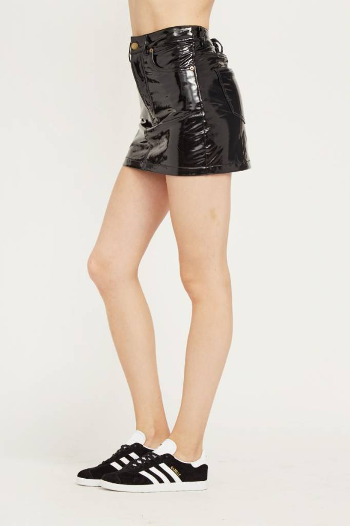 Liquid Leather Mini Skirt