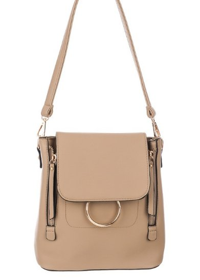 Faux Leather Square Backpack Purse