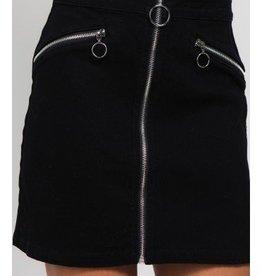 Moto Denim Skirt