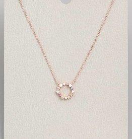 Studded Circle Pendant Necklace