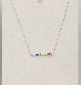 Rainbow Rhinestone Bar Pendant Necklace