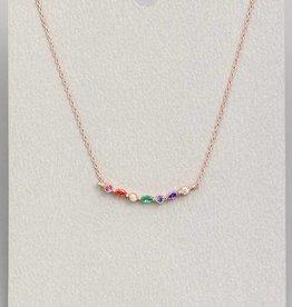 Tiny Rainbow Gemstone Charm Necklace