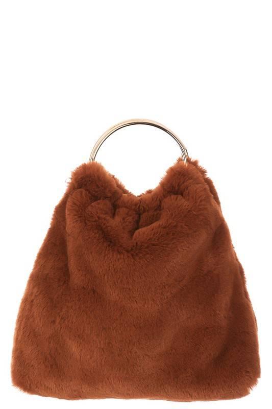 Faux Fur Metal Handle Bag