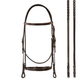 Bobby's English Tack Bobby's English Tack Plain Raised Snaffle Bridle & Matching Reins