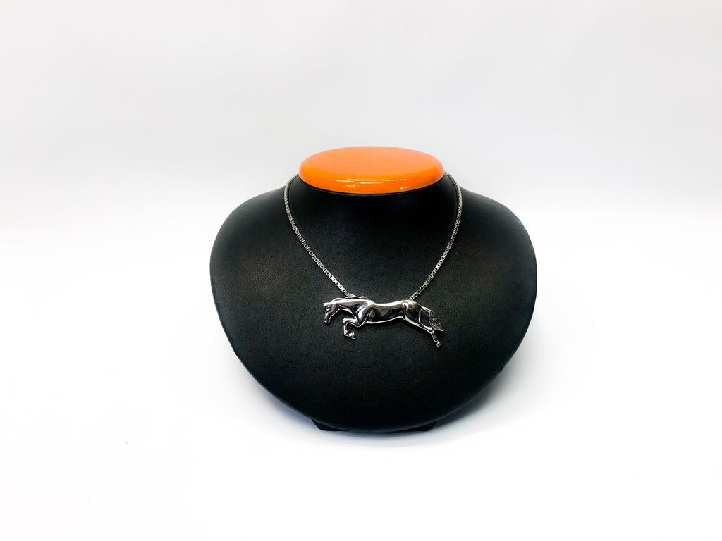 Michel McNabb Jewelry Michel McNabb Sterling Silver Free Jumping Horse Pendant Necklace