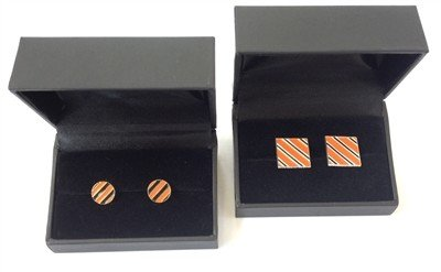 CUFFLINKS-ORANGE/BLACK SQUARE