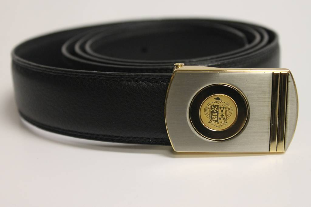 Black Leather Belt with Crested Buckle (11H-G)
