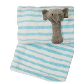 Little Haven Little Haven Blue Striped Blanket With Elephant Rattle