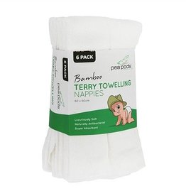 Pea Pods Pea Pods Bamboo Terry Towelling Nappies 6 Pack