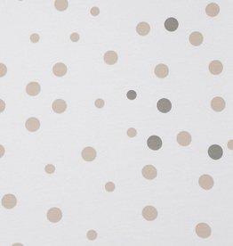 Little Turtle Little Turtle Oval Cot Fitted Sheet Woven Cotton Beige & Grey Spots
