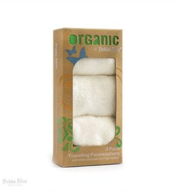 Bubba Blue Bubba Blue Feathers Organic Cotton 3pack Toweling Face Washer Set with hook