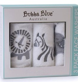 Bubba Blue Bubba Blue Pack of 3 Face Washers Zoofari