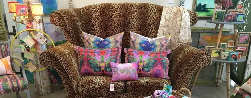 Leopard print sofa with Custom Print pillows