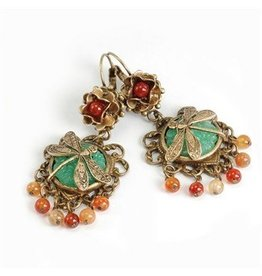 Sweet Romance Dragonfly Vintage Glass Earrings