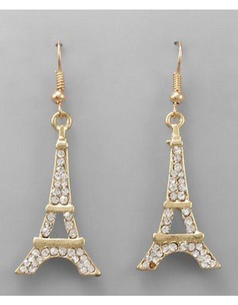 Golden Stella Eiffel Tower Crystal Earrings