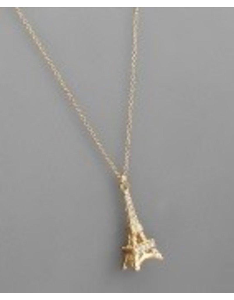 Golden Stella Eiffel Tower Necklace-Gold