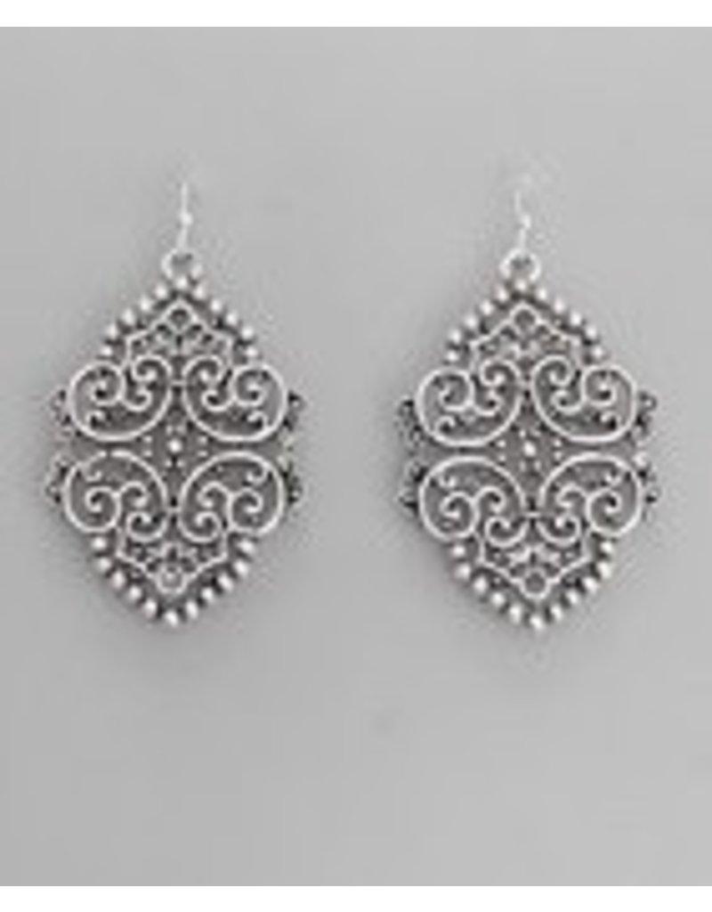 Golden Stella Metal Filigree Earrings-Silver