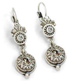 Sweet Romance Victorian Rosette Earrings - Silver