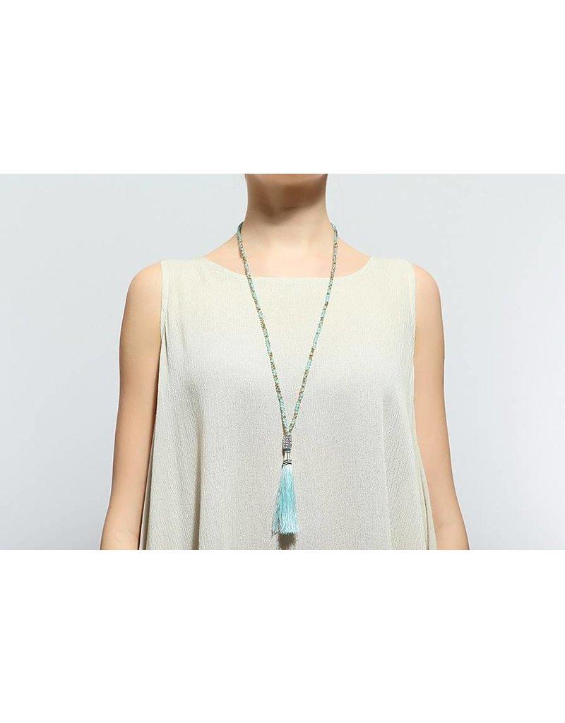 SassyBling Tassle Beaded Necklace-Aqua